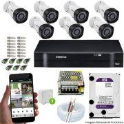 Kit Cftv 7 Câmeras VHD 3130B 720P 3,6mm DVR Intelbras MHDX 1108 + HD 2 TB WDP