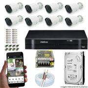 Kit Cftv 8 Câmeras AHD-M 720p Dvr 16 Canais MHDX Intelbras 5 em 1 + HD 320GB