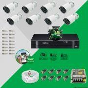 Kit Cftv 8 AHD-M Câmeras 720p Dvr 8 Canais MHDX Intelbras 5 em 1 + ACESSORIOS