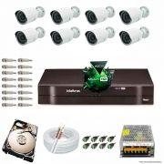Kit Cftv 8 Câmeras 1.3MP 720p Dvr 8 Canais MHDX Intelbras 5 em 1 + HD 320GB