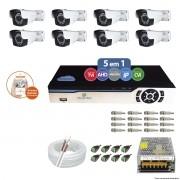 Kit Cftv 8 Câmeras AHD-M 2.0MP 720p 3,6mm DVR 8 Canais Newprotec + ACESSORIOS