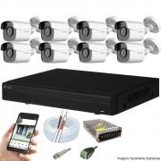 Kit Cftv 8 Câmeras AHD-M 720P 2,8MM Dvr 8 Canais Visionbras XVR + Acessórios