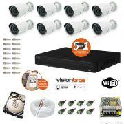 Kit Cftv 8 Câmeras AHD-M 720P 3,6MM Dvr 16 Canais Visionbras XVR + HD 500GB