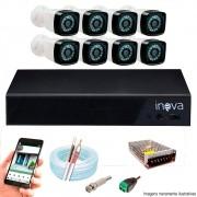 Kit Cftv 8 Câmeras AHD-M 720p Dvr 16 Canais  5 em 1 HD + Acessórios