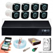 Kit Cftv 8 Câmeras AHD-M 720p Dvr 16 Canais 5 em 1 HD + HD 500GB