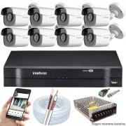 Kit Cftv 8 Câmeras AHD-M 720p Dvr 16 Canais MHDX Intelbras 5 em 1 + Acessórios