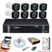 Kit Cftv 8 Câmeras AHD-M 720p Dvr 16 Canais MHDX Intelbras 5 em 1 + HD 500GB
