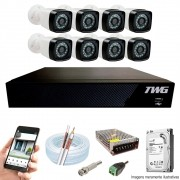 Kit Cftv 8 Câmeras AHD-M 720p Dvr 8 Canais 5 em 1 HD + HD 1 TB