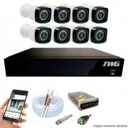Kit Cftv 8 Câmeras AHD-M 720p Dvr 8 Canais 5 em 1 HD + Acessórios