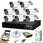 Kit Cftv 8 Câmeras AHD-M 720p Dvr 8 Canais Inova 5 em 1 HD + HD 1 TB