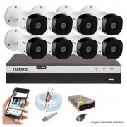 Kit Cftv 8 Câmeras Ahd-M 720P Dvr 8 Canais Mhdx Intelbras 5 Em 1 + Acessórios