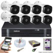 Kit Cftv 8 Câmeras Bullet HDCVI Lite VHL 1120B 720p G4 Dvr 16 Canais Intelbras MHDX + HD WDP 2TB