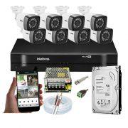 Kit CFTV 8 Câmeras Bullet TWG DVR Intelbras MHDX 1108 + HD 500GB