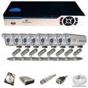KIT CFTV 8 Câmeras Infravermelho 1200 TVL 3,6MM + DVR 8 Canais 5 em 1 + HD 500GB Completo