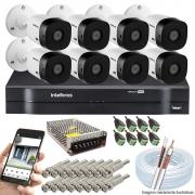 Kit Cftv 8 Câmeras Vhd 1010B Bullet 720P Dvr 16 Canais Intelbras Mhdx + Acessórios