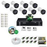 Kit Cftv 8 Câmeras VHD 1120B Bullet 720p Dvr 8 Canais Intelbras MHDX + ACESSÓRIOS