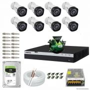 Kit Cftv 8 Câmeras VHD 1220B 1080P 3,6mm DVR Intelbras MHDX 3008 + HD 1TB BARRACUDA