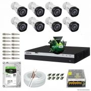 Kit Cftv 8 Câmeras VHD 1220B 1080P 3,6mm DVR Intelbras MHDX 3008 + HD 2TB BARRACUDA