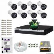 Kit Cftv 8 Câmeras VHD 1220B 1080P 3,6mm DVR Intelbras MHDX 3016 + HD 1TB WDP