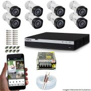 Kit Cftv 8 Câmeras VHD 1220B 1080P 3,6mm DVR Intelbras MHDX 3108 + Acessórios