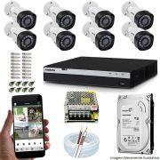 Kit Cftv 8 Câmeras VHD 1220B 1080P 3,6mm DVR Intelbras MHDX 3108 + HD 1TB