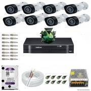 Kit Cftv 8 Câmeras VHD 3120B 720P 2,6mm DVR Intelbras MHDX 1016 + HD 1TB WDP