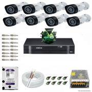 Kit Cftv 8 Câmeras VHD 3120B 720P 2,6mm DVR Intelbras MHDX 1016 + HD 2TB WDP