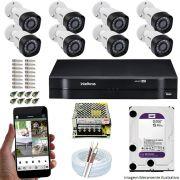 Kit Cftv 8 Câmeras VHD 3120B 720P 2,6mm DVR Intelbras MHDX 1116 + HD 2TB WDP
