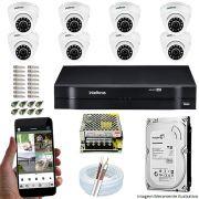 Kit Cftv 8 Câmeras VHD 3120D 720P 2,6mm DVR Intelbras MHDX 1116 + HD 500GB