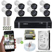 Kit Cftv 8 Câmeras VHD 3130B 720P 3,6mm DVR Intelbras MHDX 1108 + HD 1 TB
