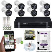 Kit Cftv 8 Câmeras VHD 3130B 720P 3,6mm DVR Intelbras MHDX 1108 + HD 1 TB WDP