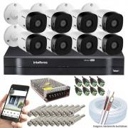 Kit Cftv 8 Câmeras VHD 3130B 720P 3,6mm DVR Intelbras MHDX 1108 + Acessórios