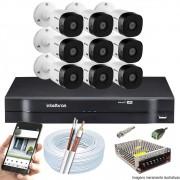 Kit Cftv 9 Câmeras VHD 3130B 720P 3,6mm DVR Intelbras MHDX 1116 + Acessórios