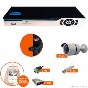Kit Cftv Dvr 4 Canais Newprotec 5 em 1 + 2 Câmeras Ir Cut Infravermelho 1500L