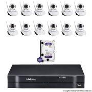 Kit Dvr Intelbras 16 Canais MHDX 12 Câmeras IPs Robo Wifi HD 1 TB WD Purple