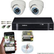 Kit Dvr Intelbras 4 Ch 2 Câmera Dome Ahd Npc