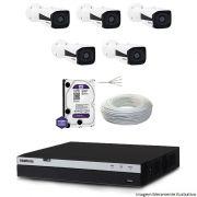 Kit Dvr Intelbras 8 Canais MHDX 1080P 5 Câmeras IPs Bullet VIP 1220 HD 1 TB WD Purple + Cabo