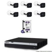 Kit Dvr Intelbras 8 Canais MHDX 1080P 6 Câmeras IPs Bullet VIP 1220 HD 1 TB WD Purple
