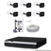Kit Dvr Intelbras 8 Canais MHDX 1080P 6 Câmeras IPs Bullet VIP 1220 HD 1 TB WD Purple + Cabo