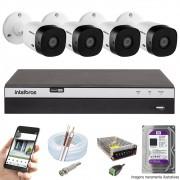 KIT INTELBRAS 4 CAM VHL 1220B FULL HD DVR MHDX 3108 + HD 1TB PURPLE