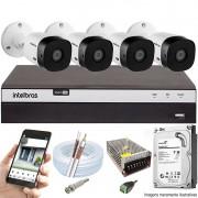 KIT INTELBRAS 4 CAM VHL 1220B FULL HD DVR MHDX 3108 + HD 500GB
