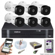 KIT INTELBRAS 6 CAM VHL 1220B FULL HD DVR MHDX 1108 + HD 1 TB PURPLE