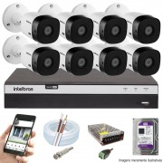 KIT INTELBRAS 8 CAM VHL 1220B FULL HD DVR MHDX 3108 + HD 1TB PURPLE