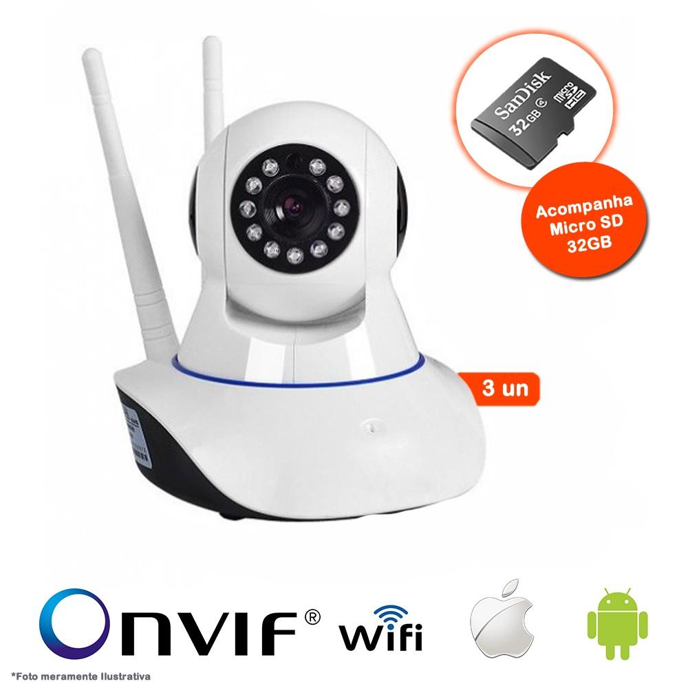 KIT 3 Câmeras IP Wifi HD 720p Robo Wireless,Grava em Cartão SD,Visão Noturna com Micro SD 32GB