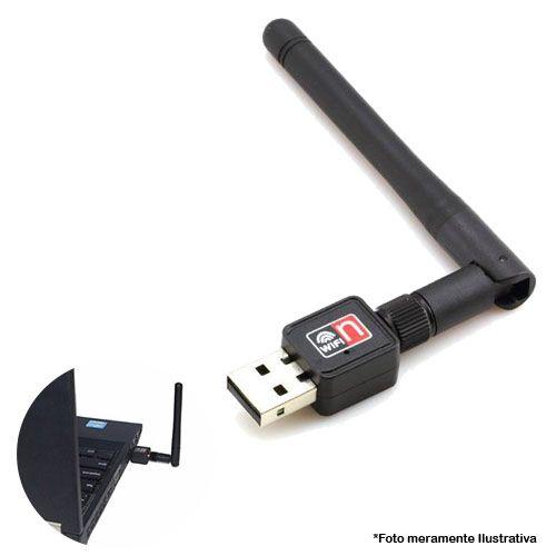 Adaptador Wireless USB 2.0 600Mbps Sem Fio Lan, Antena, 150 metros de distâcia