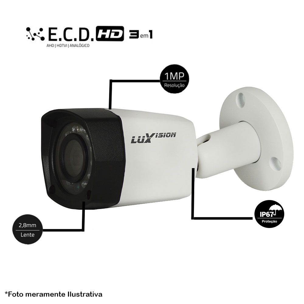 Câmera Bullet Infravermelho AHD-M LVCB2 1636 3,6MM 1MP Luxvision 25 metros 720P