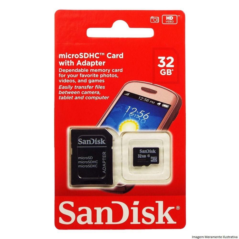 Cartão Micro Sd Sandisk 32Gb  Com Adaptador Original