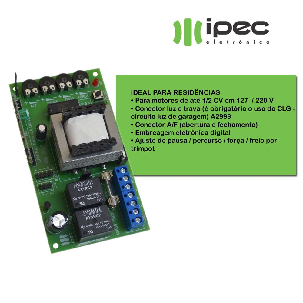 Central Comando Para Portão Eletrônico Facilima Universal Ipec