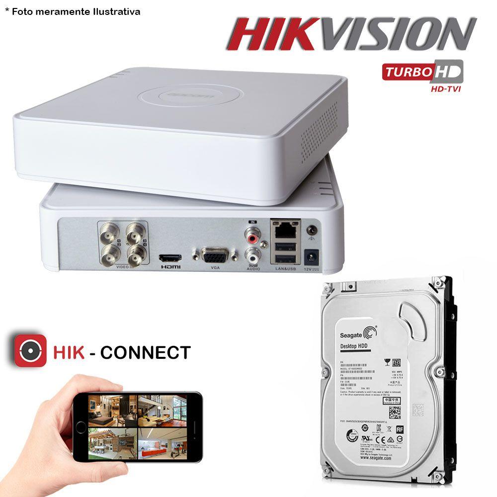 DVR Stand Alone Hikvision 04 Canais 720p Turbo HD + HD 500GB Pipeline de CFTV