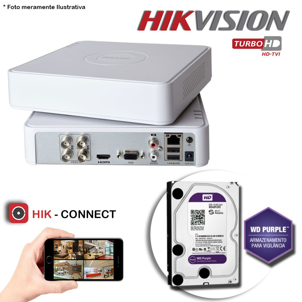 DVR Stand Alone Hikvision 04 Canais 720p Turbo HD + HD 1TB WD Purple de CFTV